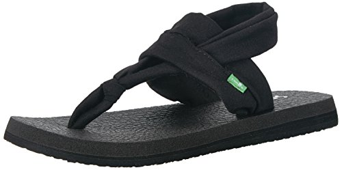 Sanuk Women's Yoga Mat Strap Sandal, Black, 09 M US (Best Shoes For Pregnant Women)