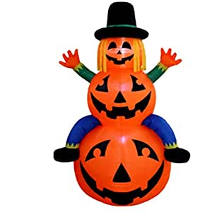 Halloween Airblown Inflatable Surprise Decoration, Outdoor Lighted Freestanding Scarecrow on Pumpkins & E-Book