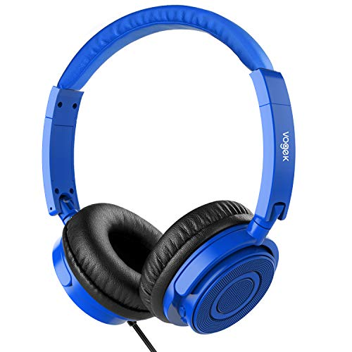 Blue Portable Headphones - On Ear Headphones with Mic, Vogek Wired Foldable Bass Headphones with Volume Control and Microphone-Blue