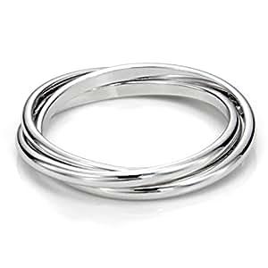 Sz 4.0 Sterling Silver Triple Interlocked Rolling High Polish Plain Dome Tarnish Resistant Wedding Band Ring