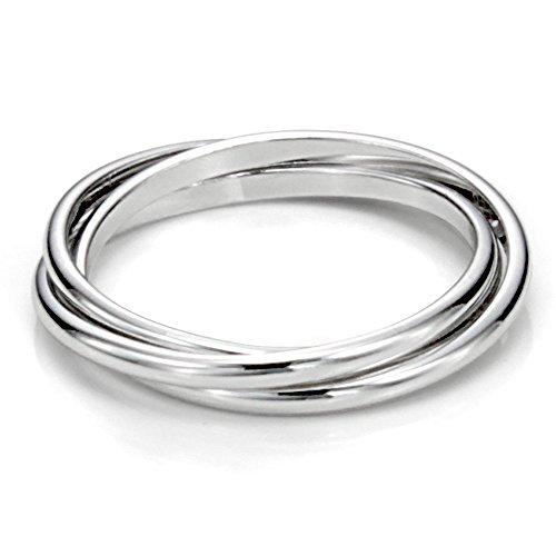 Metal Factory Sterling Silver Triple Interlocked Rolling High Polish Plain Dome Tarnish Resistant Wedding Band Ring