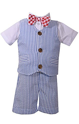 Bonnie Jean Baby Boys Seersucker Americana USA Stripe Vest Short Se (12 - Gingham Seersucker Shorts