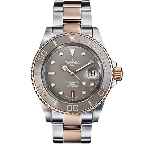Davosa Swiss Made Dive Watch for Men - Ternos Ceramic Professional Automatic Watch with Analog Display & Unidirectional Luxury Bezel (16155562)