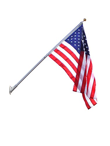 American Flag and Outrigger Flagpole Set - 8 ft. Aluminum Flagpole and US Flag 4x6 ft. SolarGuard Nylon by Annin Flagmakers, Outrigger Flagpole Kit. Model 3621 by Annin