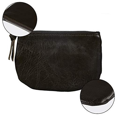 Befen Women Full Grain Leather Tripple Zip Crossbody Bag Crossbody Cell Phone Wallet Purse Bag Phone Wristlet (Black Olive Coin Purse) by befen (Image #2)