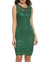 Acevog Women's Elegant Floral Sleeveless Lace Party Cocktail Evening Dress
