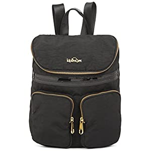 Kipling Carter Small Solid Backpack, Black Patent Combo