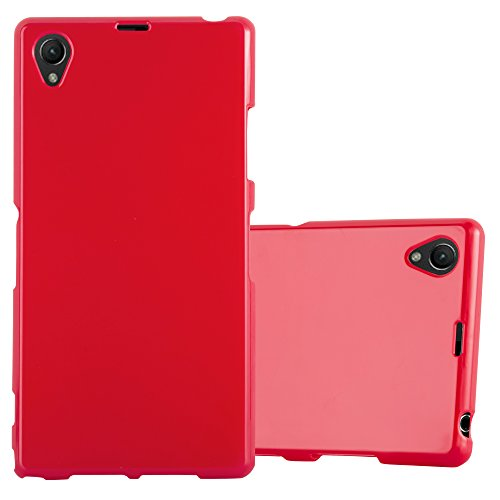 Cadorabo Case Works with Sony Xperia Z1 in Jelly RED - Shockproof and Scratch Resistant TPU Silicone Cover - Ultra Slim Protective Gel Shell Bumper Back Skin