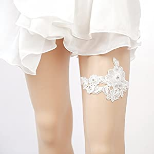 Slocyclub Women Cute Bead Lace Floral & Plants Wedding Thigh Band Garter