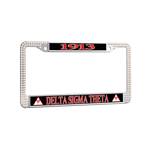 Delta Sigma Theta License Plate Frame,Greek-Lettered Sorority Colorful Diamond Car Plate Frame Handmade Auto Car tag Frame ()