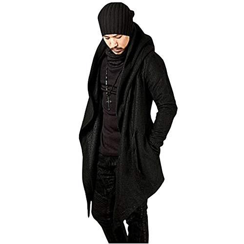 - Men's Long Sleeve Trench Hooded Cardigan Coat Irregular Hem Open Front Jackets Loose Fit Windbreaker Overcoat(Black-S)