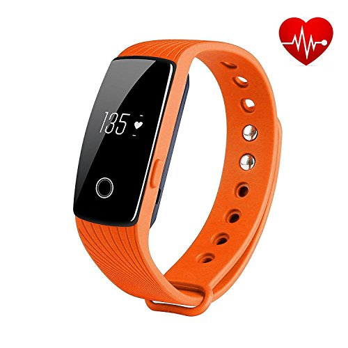 REDGO Wireless Activity Heart Rate Monitor Pedometer Smart Fitness Tracker Wristband Watch Bracelet with Camera Remote Control Function for Men Women Boys Girls Ladies Man, Orange