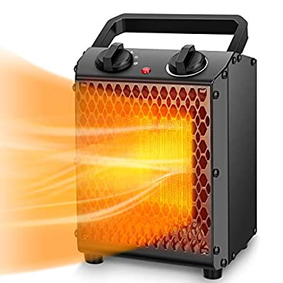 Space Heater - TRUSTECH Portable Heater with Adjustable Thermostat & Overheat Protection, Ceramic Electric Heater for Home, Office and Indoor Use, 3 Quiet Settings & Easy-Grip Carry Handle, 750W/1500W