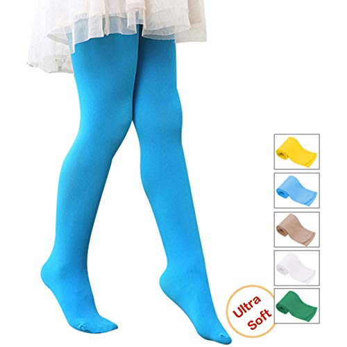 Girls' Ultra Soft Ballet Dance Footed Tight Knit Casual School Leggings For Toddlers/Little Kids/Big Kids 1 Pack Blue Large (43.31