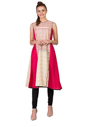 SABHYATA Women Kurta Designer Ethnic Long Dress Casual Tunic Kurti for Women Ladies Partywear Material 100% Pure Rayon Neck Type Round Neck Medium Beige by SABHYATA