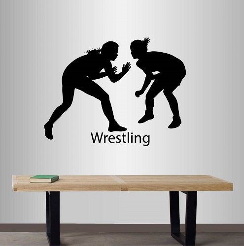 Wall Vinyl Decal Home Decor Art Sticker Greek Roman Wrestling Girl Woman Sportsmen Wrestling Wrestlers Gym Sport Room Removable Stylish Mural Unique Design