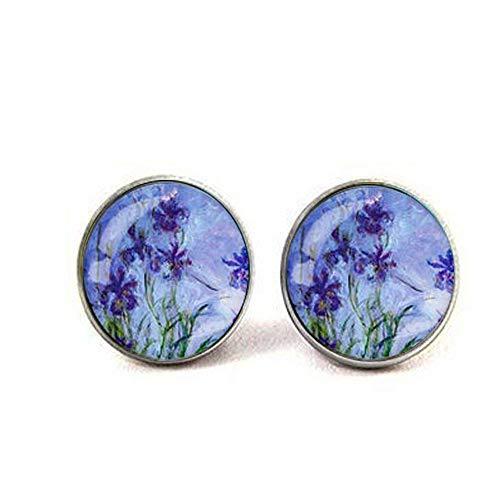 - Iris Flowers Claude Monet Round Earrings Glass Picture Art Present Gift idea Christmas Birthday Jewelry