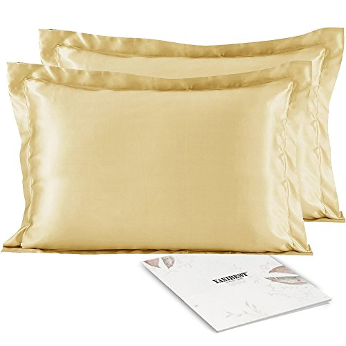 YANIBEST Satin Silk Pillowcases For Hair Satin Pillowcases, Two-Pack, Champagne, Queen, Cool Than Cotton for (Gold Satin Sham)