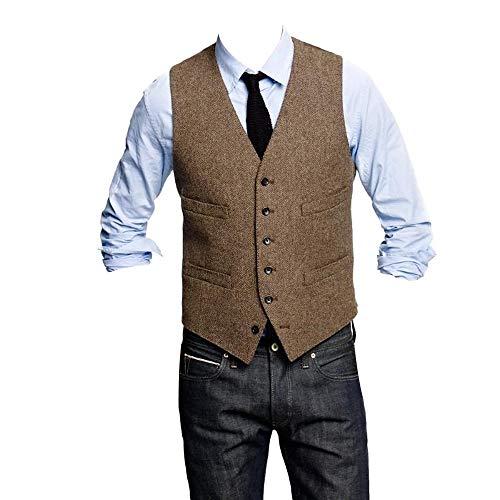 HBDesign Mens 1 Piece 6 Button Slim Trim Fit Party Dress Vest-48R Brown ()