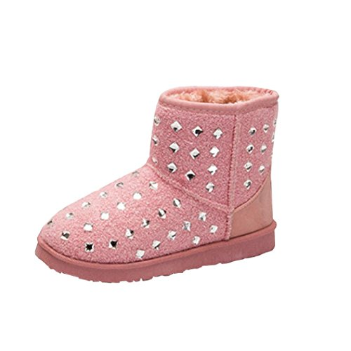 Womens Boots,Clode® Fashion Ladies Girls Flat Ankle Fur Lined Winter Warm Snow Boots Booties Slipper Pink