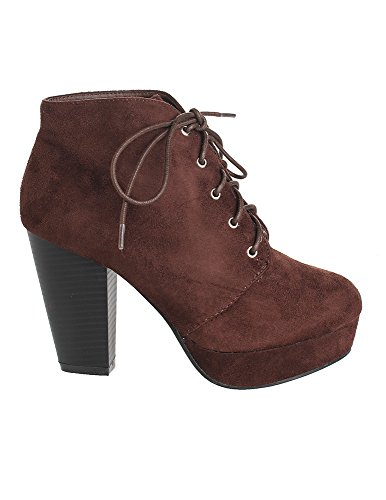 Forever Camille-86 Frauen Komfort Stapeln Chunky Heel Lace Up Ankle Booties Premium Braun