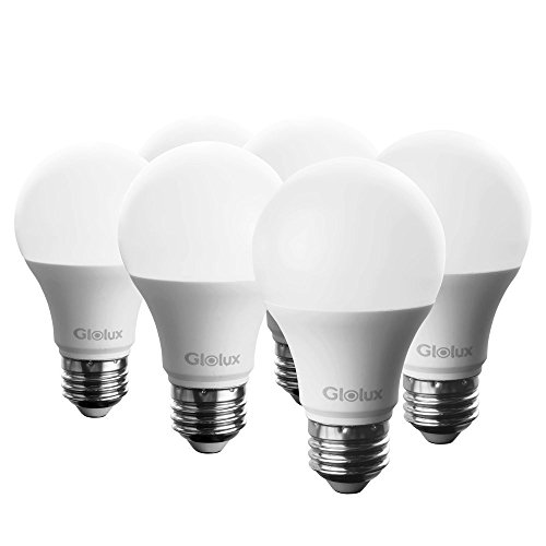 Glolux A19 LED Light Bulb, 60 Watt Equivalent, 800 Lumens, E26 Base Soft White 3000K 9 Watt Pack of 6