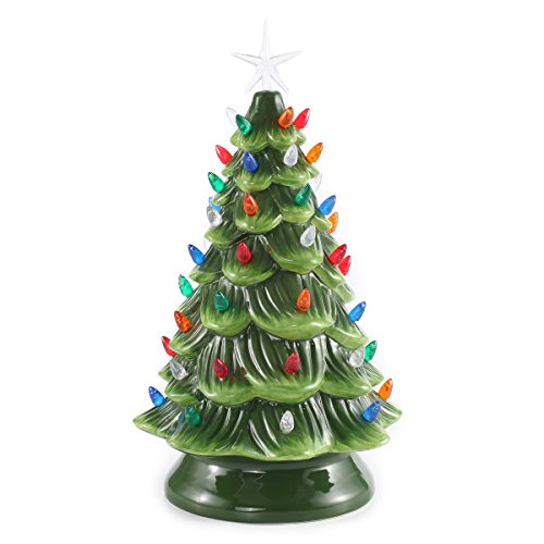 15 Tabletop Prelit Ceramic Christmas Tree With Multicolor Bulbs
