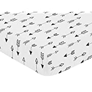 Sweet Jojo Designs Arrow Print Fitted Crib Sheet for Black and White Fox Collection Baby/Toddler Bedding Set Collection