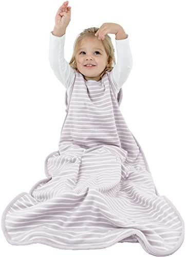 Woolino Toddler Sleeping Bag, 4 Season, Merino Wool Baby Wearable Blanket, 2-4 Years, Lilac