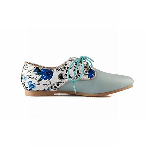 Carol Scarpe Casual Donna Lace-up Motivo Floreale Comfort Moda Scarpe Oxford Tacco Basso Blu