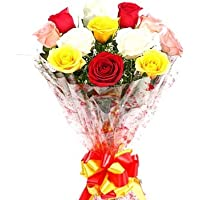 Phoolwala`s Flowers Bouquet of Red White Yellow Roses