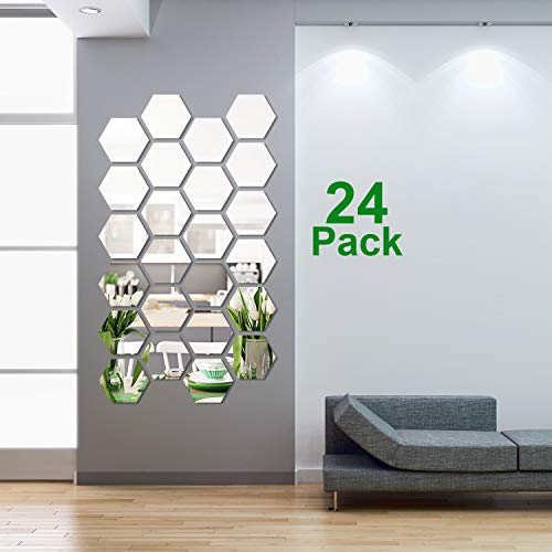 Decal Sticker Mirror - 24 Pieces Removable Acrylic Mirror Setting Wall Sticker Decal for Home Living Room Bedroom Decor (Style 3, 24 Pieces)