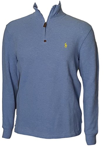 Polo+Ralph+Lauren+Men%27s+Half+Zip+French+Rib+Cotton+Sweater+%28Pale+Blue+HTH%2C+M%29