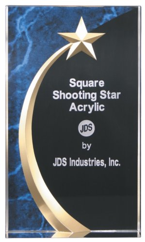 "4 1/2 x 7 3/4"" Blue Marble Rounded Shooting Star Acrylic Award - BRAND NEW"