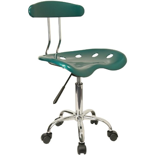 Flash Furniture Vibrant Green and Chrome Swivel Task Chair with Tractor Seat