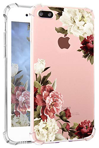 Hepix iPhone 8 Plus Floral Case iPhone 7 Plus Case Clear Soft Flexible Watercolor Flowers Floral Print Phone Cover Case TPU withBumper for iPhone 7 Plus iPhone 8 Plus [5.5 inch] (White-Red Peony)