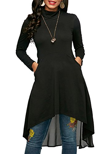 Black Spring Dress Jeans (KISSMODA Women's Long Sleeve Swing Solid Color Loose Fit Casual T-Shirt Dress With Pockets Black Large)