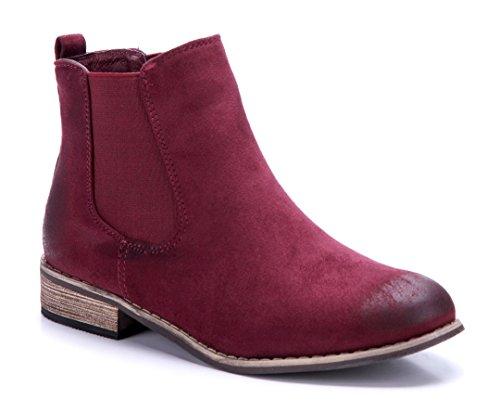 Schuhtempel24 Damen Schuhe Klassische Stiefeletten Stiefel Boots  Blockabsatz Used Look 3 cm Rot 6789b17f06