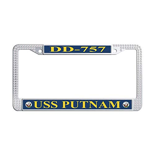 Hensonata Bling Sparkle Funny Waterproof Rhinestones License Plate Covers, USS Putnam DD-757 White Stainless Steel Glitter Rhinestones License Cover Holder with Crystal Screw -