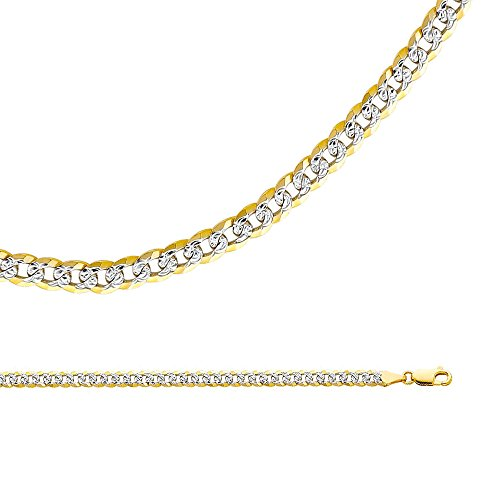 Solid 14k Yellow White Gold Necklace Cuban Chain Diamond Cut Curb Pave Two Tone Heavy 4.8 mm 22 inch - Gold Heavy Cuban Pave Chain