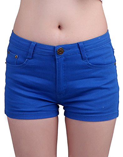 HDE Women's Solid Color Ultra Stretch Fitted Low Rise Moleton Denim Booty Shorts (Dark Blue, Small)