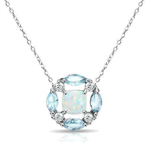 GemStar USA Sterling Silver Simulated Opal and Blue Topaz Necklace with White Topaz Accents