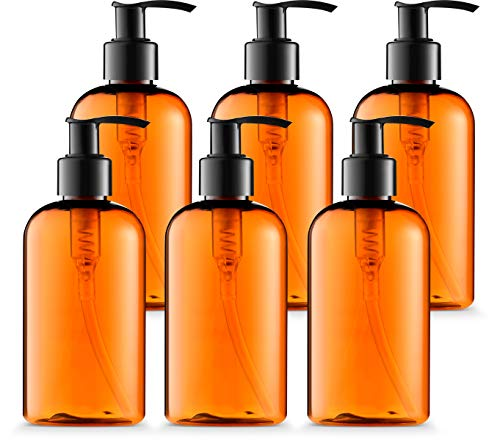 Empty Lotion Bottles 8 Oz. with Black Pump Dispenser, Light-Amber Color, Great for - Creams, Body Wash, Hand Soap, Self-Tanners, Bronzers and Massage Lotion (Pack of 6)