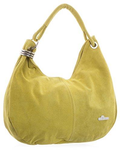 LIATALIA style femme sac épaule pour suède porté Large italien en cabas à Moutarde Vert slouch main hobo 'Fiona' Jaune lime I6rISqzn