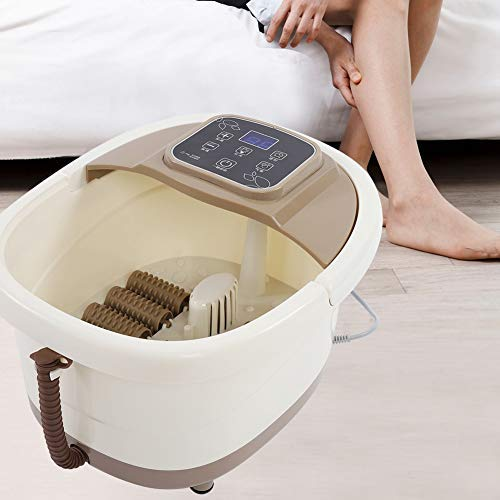 Foot Spa Massager, Portable Fatigue Relieve Foot Spa Bath Massager Bubble Heat Soaker Vibration Pedicure Soak Tub US Plug 110V for Home and Salon