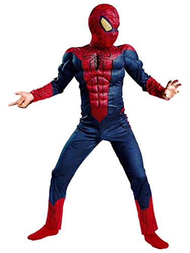 Marvel Comics Boys Muscle Torso Amazing Spiderman Costume with Mask Large 10-12