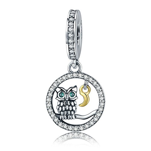 (Everbling Wise Owl Wisdom Bird 925 Sterling Silver Bead For European Charm Bracelet (Watchful Owl and Moon Dangle))