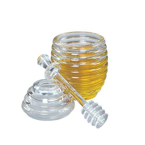(Fox Run 4163 Honey Jar and Dipper Set, Clear)