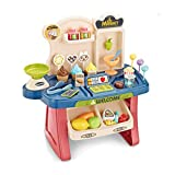 SUPER-ELE Mini Ice Cream Toy Cart Play Set for Kids Supermarket Cash Register Pretend Play Children's Simulation Shopping Cart Convenience Store Educational for Toddlers Birthday Gift for Boys Girl