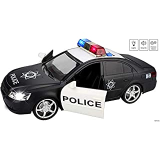 Memtes Friction Powered Police Car Toy with Lights and Sirnes Sounds (2 Front Doors Open)